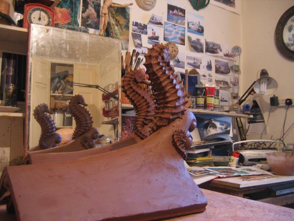 Maggie Curtis - workshop picture Seahorse ridge tiles